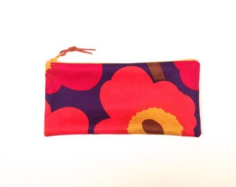 Marimekko Unikko Red Purple Orange Gold Pencil Case