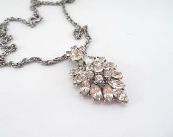 Elegant Vintage Crown Trifari Clear Rhinestone Pendant Necklace 1940s Jewelry Trifari Jewelry Rhinestone Necklace Bridal Jewelry Wedding
