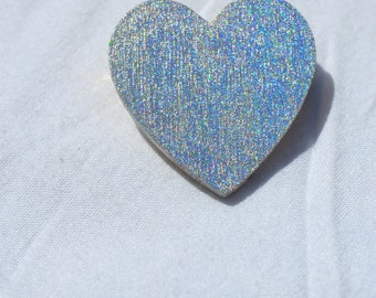 Holographic Heart Brooches