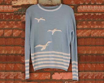Vintage 1970's Seagull sweater blue and raised embroidery super rad