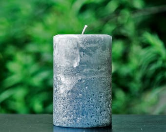 "Stone Gray Rustic Large 4"" Wide Pillar Candle - Choose 4"", 6"" or 9"" Tall"