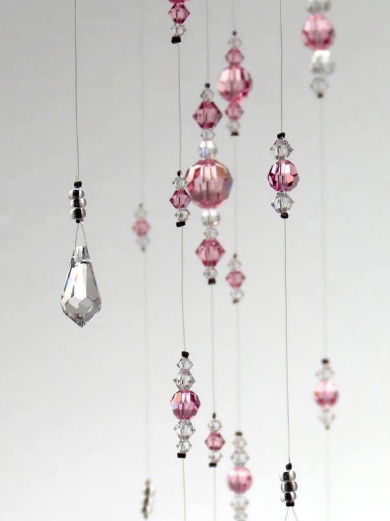 Medium light pink baby girl swarovski crystal chandelier like this item mozeypictures Images