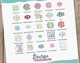 ON SALE 25 Embroidery Monogram Fonts - Instant Download