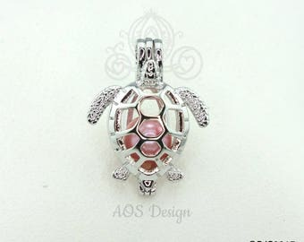 Sea Turtle Pearl Cage Necklace Baby Sea Tortoise Silver Plated Locket Charm Bead Cae