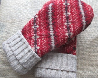 Wool Sweater Mittens - Fleece-lined, Recycled, Felted, WARM Sweater Mittens, Medium size Women's Red, Beige & Purple  Mittens