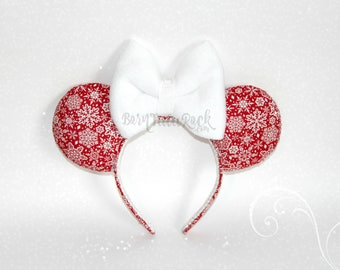Snowflake Mouse Ears // Christmas Mouse Ears // Winter Mouse Ears // by Born Tutu Rock
