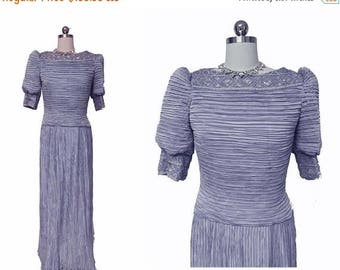 SUMMER SALE Vintage George F Couture Fortuny Look Pleated Evening Gown in Periwinkle designer gown
