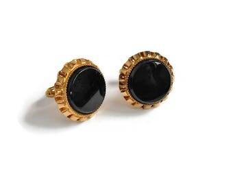 Vintage Cuff Links Signed HAYWARD Black Onyx Stone Round Gold Setting Men Fashion Shirt Studs