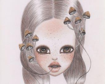 Mushroom freckled girl art print