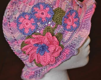 Hand Crochet Large Flower Panama Hat - Little Girl -  Pink Purple and Gray Summer Beanie - Girl Accessory - Size 4 to 6 Years - Beach Wear
