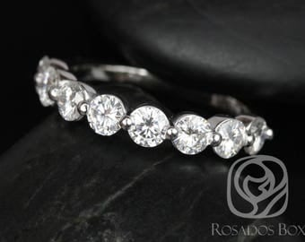 Rosados Box DIAMOND FREE Naomi 3.5mm 14kt White Gold Round F1 Moissanite HALFWAY Eternity Band