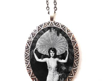 Flapper Ziegfeld Follies Necklace Pendant Silver Tone - Art Deco 1920s Showgirl Dancer Roaring 20s