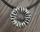 Large Pewter Sunflower Pendant Medallion on Black Leather & Sterling Silver Clasp Necklace - Ready for Spring and Summer!