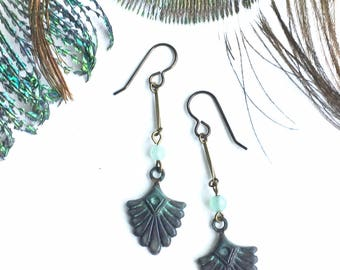 Dark and Delicate Verdigris Scallop Drop Earrings with Green Aventurine Beads and Vintage Brass