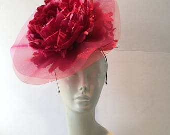 Hot Pink Fascinators -Peony Fascinator- Derby Fascinator- Kentucky Detby Fascinator -Veil Fascinator- Cocktail Hat- Large fascinator- Hat
