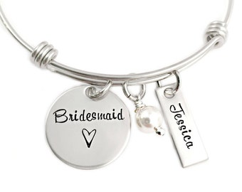 Personalized Bridesmaid Gift - Engraved Bangle Bracelet - Bridesmaid Bangle - Wedding Party Gift - Maid of Honor - Brides Maid Gift - 1252