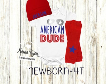 American Dude Baby Boy Patriotic Outfit, 4th of July Baby Clothing, Hip USA Baby Clothes, Military Baby, Newborn to Toddler-Shirt Only