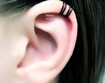 No Piercing Four Rings Cartilage Ear Cuff/piercing imitation/helix ear cuff/fake faux piercing/ohrklemme ohrclip/ helix jacket manchette