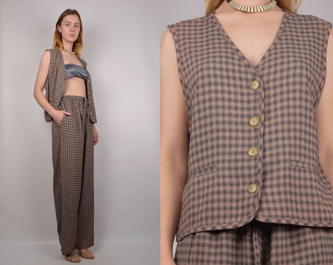 Vintage Matching Plaid Top & Pants Set