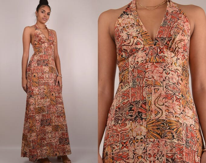 70's Halter Maxi Dress