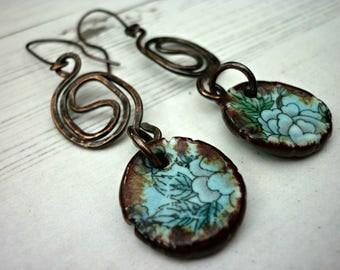 Blue floral earrings, hand forged earrings, statement earrings, rustic earrings, zen earrings, long drop earrings, spiritual earrings, UK