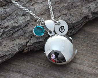 Lockets, Sterling Silver Locket Necklace, Personalized Round Locket with charms, Confirmation, Choose Italian chain. R-2