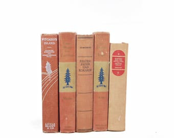 Soft Salmon Decorative Books, Apricot range Rustic Antique BOOks, Wedding Centerpiece, Book set, Shabby Chic Old Books for decor, Book Decor