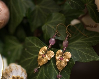 Pink tourmaline leaves earrings