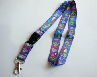 Aliens Lanyard ID Badge Holder - Lobster Clasp and Clip