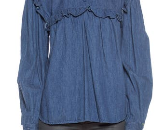 Denim Ruffle Top Size: 8
