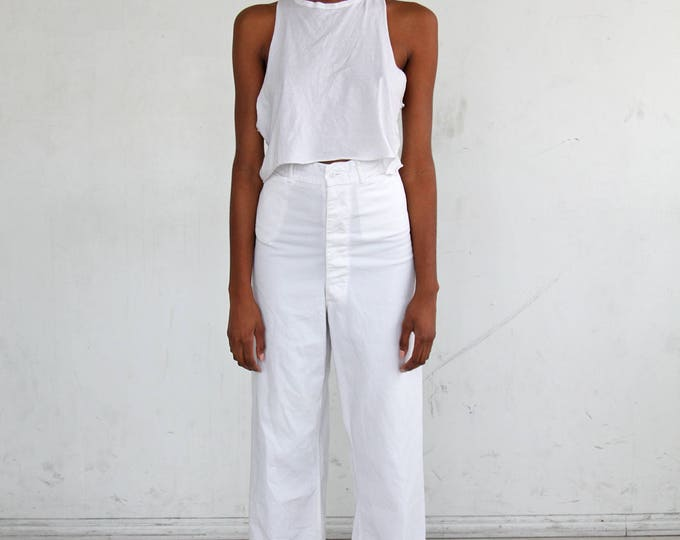 SALE 30% OFF 1940s White Sailor Pants