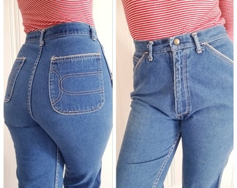 High Waist Mom Jeans . Flared 70s/80s Denim . size 6/8