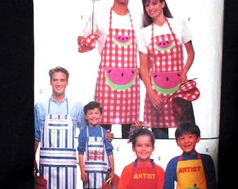 Butterick 5823 Family Apron Pattern BBQ Barbecue Chef Hat Oven Mitt Painter Alphabet Appliques Multi Size Child 4 6 8 10 Adult XS S M L XL