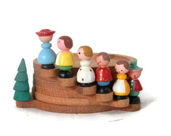Italian Coaster Set Hand Painted Stacking Wooden Figurines and Trees Vintage MCM  Barware