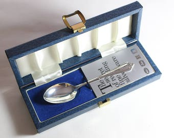 1980s Sterling Silver Hallmarked Broadway and Co Tea Spoon Boxed 1989 Barwell Leicestershire