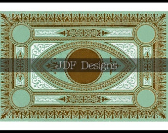 Instant Digital Download, Antique Victorian Graphic, Decorative Aqua Gold Ornate Book Cover, Label, Place Card Gift Tag Steampunk, Scrapbook