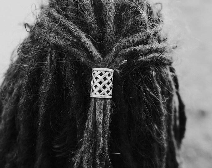 Tibetan Silver Weave Dread Tie 18mm Hole (11/16 Inch) | Set Of 2