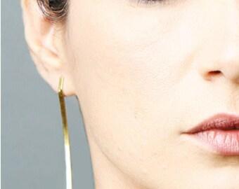 Long gold bar earrings, statement earrings, tribal jewelry, gold bar stud earrings, boho earrings, minimalist jewelry, handmade jewelry