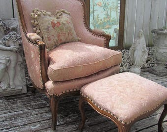 French Style Bergere Chair With Footstool, French Style Wing Chair, Down Cushion, 1940's, AS IS