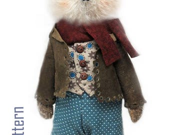 """NEW PDF Wolf Download Epattern for 8"""" Artist teddy toy Wolfy Wolf/sewing instructions/accessory,clothes,basket instructions by Masha Kozlova"""