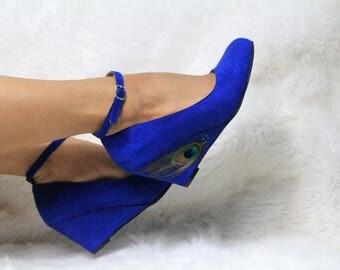 Royal Blue Low Bridal Wedges
