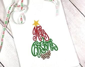 Merry Christmas Flour Sack Towel, Christmas Tea Towel, Christmas Home Decor, Best Friend Gift,  Christmas Kitchen Towel,  Kitchen Decor