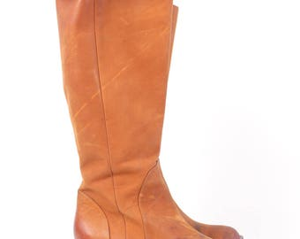 VINTAGE Stunning Cole Haan Tan Leather Riding Boots sz 7.5 | Brown Equestrian Designer Zip Up Boots