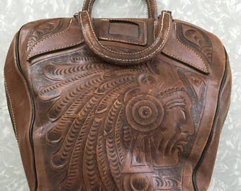 Vintage Bowling Bag - Tooled Brown Leather Bowling Ball Case