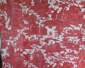 Antique French Toile. 19th Cent. Large Panel.Toile de Jouy. Bed Hanging. Red Toile de Jouy.