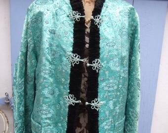 Vintage Chinese Brocade and Faux Astrakhan Jacket . Evening Jacket. Vintage.
