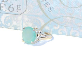 Chalcedony Ring, Anniversary Ring, Statement Ring, Ring With Blue Stone, Size 7 Ring