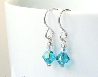 Blue Zircon Swarovski Crystal Earrings,  Turquoise Crystal Dangle Earrings, Dainty Drop Earings