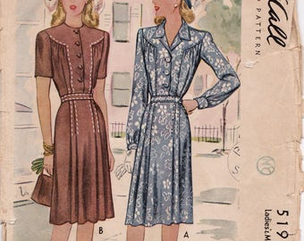 """RARE 1940s Plus Size Misses' Dress Button Front Bodice, Pleated Skirt Vintage Sewing Pattern, McCall 5191, Size 18, Bust 36"""", Complete"""