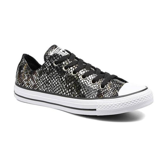 Snake Converse Sneakers Leather Low Top Scale Black Silver Metallic w/ Swarovski Crystal Rhinestone Chuck Taylor All Star Trainer Shoe